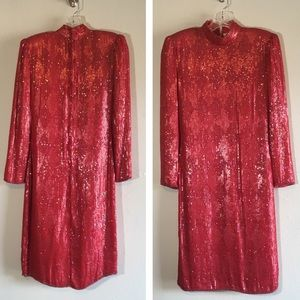 Red Vintage Sequined Dress Long Sleeve Beaded